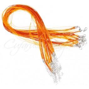 Baza colier organza bumbac cerat oranj 45 cm