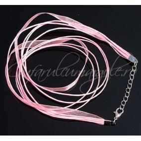 Baza colier organza bumbac cerat roz 45 cm