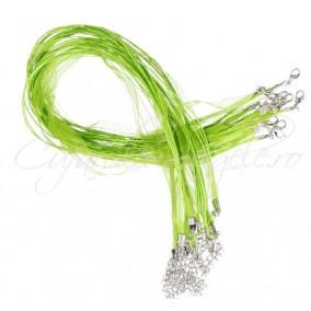 Baza colier organza bumbac cerat verde crud 45 cm