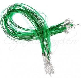 Baza colier organza bumbac cerat verde iarba 45 cm