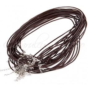 Baza colier snur piele naturala maro 46 cm