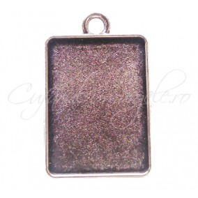 Baza pandantiv argintiu 2 fete 32x20mm cabochon dreptunghi 25x18mm