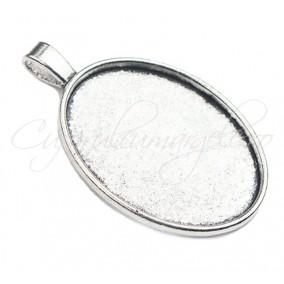 Baza pandantiv argintiu 37x21mm cabochon oval 25x18mm