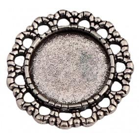 Baza pandantiv argintiu fara anou 25mm cabochon rotund 16mm