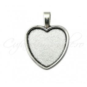 Baza pandantiv argintiu inima 35x27mm cabochon 24x22mm