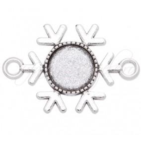 Baza pandantiv argintiu link fulg de zapada 35x23mm cabochon rotund 12mm