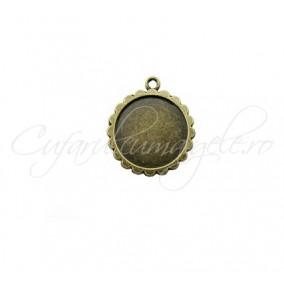 Baza pandantiv bronz 23x20mm cabochon rotund 16mm