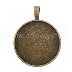 Baza pandantiv bronz 36x27mm cabochon rotund 25mm