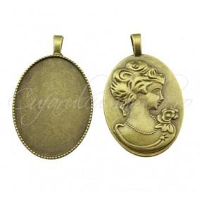 Baza pandantiv bronz camee 51x32mm cabochon oval 40x30mm