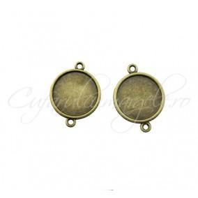 Baza pandantiv link bronz 25x19mm cabochon rotund 16mm