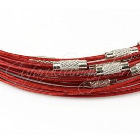 Baza siliconata colier rosu 45 cm