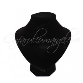 Bust mixt coliere cercei velur negru 14x16cm