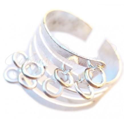 Cadru inel alb argintiu 8 anouri oblice