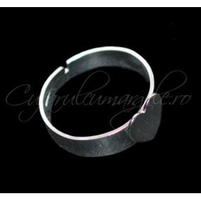 Cadru inel alb argintiu cabochon inima 8x8mm