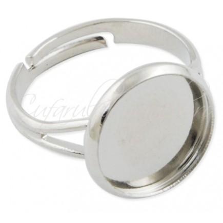Cadru inel alb argintiu cabochon rotund 12mm prindere adeziv