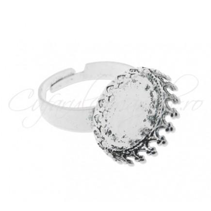 Cadru inel alb argintiu cabochon rotund 12mm prindere mecanica