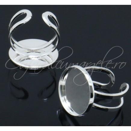 Cadru inel alb argintiu cabochon rotund 16mm