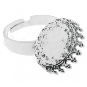 Cadru inel alb argintiu cabochon rotund 18mm