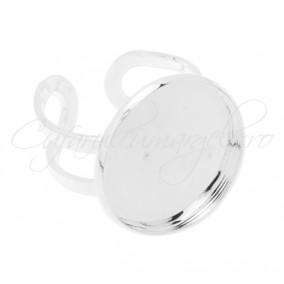Cadru inel alb argintiu cabochon rotund 20mm