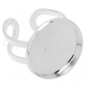 Cadru inel alb argintiu cabochon rotund 25mm