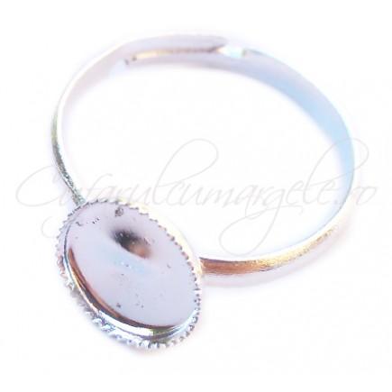 Cadru inel alb argintiu cabochon rotund 8mm