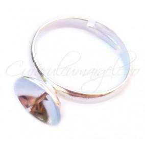 Cadru inel alb argintiu cupa pin 10mm
