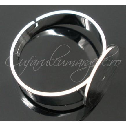 Cadru inel alb argintiu lat platou rotund 12mm