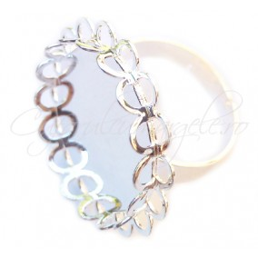 Cadru inel alb argintiu margine dantela cabochon oval 25x18mm