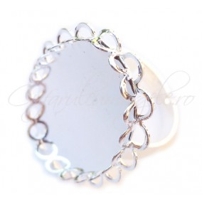 Cadru inel alb argintiu margine dantela cabochon rotund 20mm