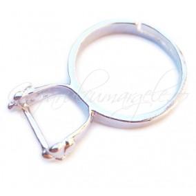 Cadru inel alb argintiu pin lateral floare 8mm