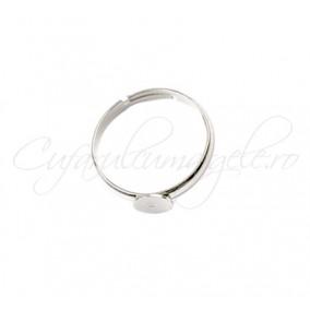 Cadru inel argintiu cabochon rotund 6mm