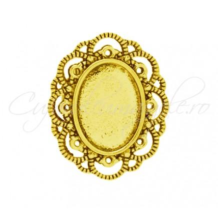 Cadru inel auriu 30x25mm cabochon oval 18x13mm