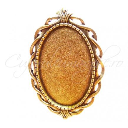 Cadru inel auriu 42x28mm cabochon oval 30x20mm