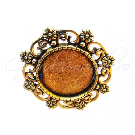 Cadru inel auriu 8 flori 25mm cabochon rotund 15mm