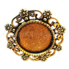 Cadru inel auriu 8 flori 30mm cabochon rotund 18mm