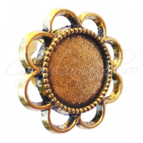 Cadru inel auriu floare 24mm cabochon rotund 14mm