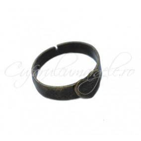 Cadru inel bronz cabochon inima 8x8mm