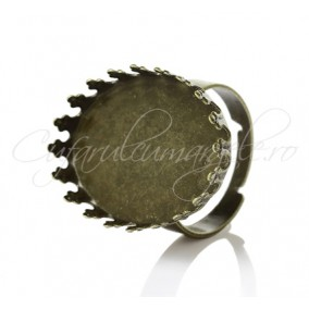 Cadru inel bronz cabochon rotund 18mm