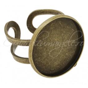Cadru inel bronz cabochon rotund 20mm