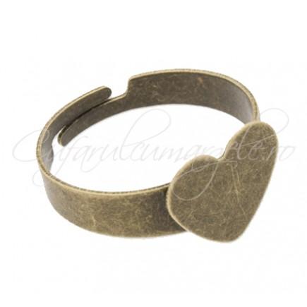 Cadru inel bronz platou inima 12mm