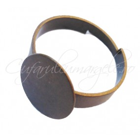 Cadru inel bronz platou oval 16x12mm