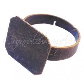 Cadru inel bronz platou patrat 14mm