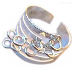 Cadru inel gri argintiu 8 anouri oblice