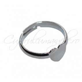 Cadru inel gri argintiu cabochon inima 8x8mm