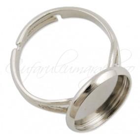 Cadru inel gri argintiu cabochon rotund 12mm prindere adeziv