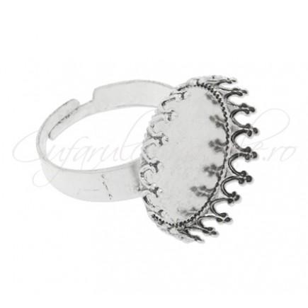 Cadru inel gri argintiu cabochon rotund 12mm prindere mecanica