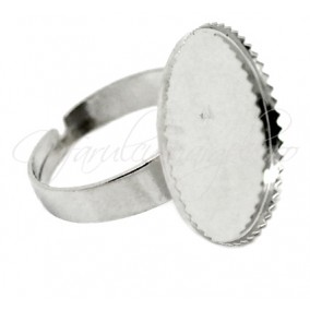 Cadru inel gri argintiu cabochon rotund 20mm