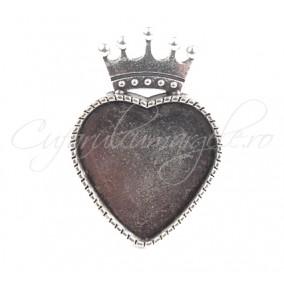 Cadru inel gri argintiu coroana cabochon inima 20mm