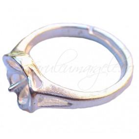 Cadru inel gri argintiu cupa pin floare 10mm
