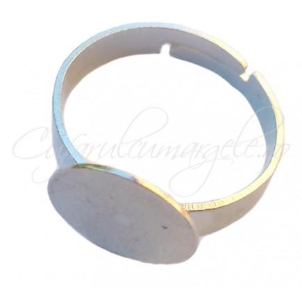 Cadru inel gri argintiu lat platou rotund 12mm